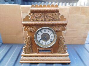 Antique Ingraham?? Victorian Gingerbread Parlor Mantle Clock missing pendulum
