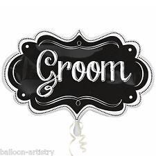 "34"" Wedding GROOM Blackboard Chalkboard Marquee Foil Supershape Balloon"