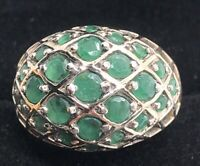 Vintage Emerald Sterling Silver Ring 925 Size 7 Band Dome