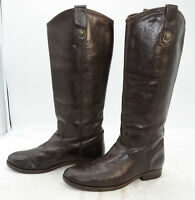 Frye Melissa Button Womens Sz 7 Brown Equestrian Leather Riding Biker Boots