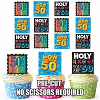 PRECUT Fun 50th Birthday 12 Edible Cupcake Toppers Party Decorations Ladies Mens