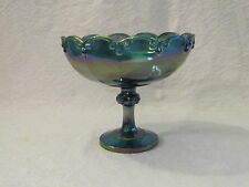 Vintage Indiana Blue Carnival Glass Garland Fruit Bowl Compote