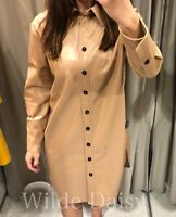 ZARA NEW TAN CAMEL LONG FAUX LEATHER SHIRT DRESS COLLAR BUTTONS MIDI SIZE XS-XXL