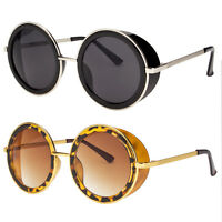 Vintage Retro Large Round Sun Glasses Goggles Steampunk Punk Sunglasses Black