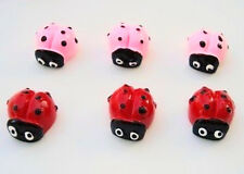 20 Cute Resin Ladybug Flatback Craft Button Embellishment/lady bug/Pink/Red B47