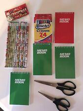 Christmas Pencils, 4 Notepads, 2 Scissors, 1 box color crayons.