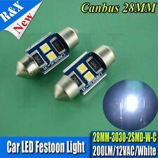 1x Super Bright White 2 SMD 3030 LED Festoon 27mm 28mm Canbus for Festoon Lamps