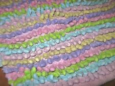 50BRIGHT Colorful Cotton Twisted Shag Chenille PASTEL 30x50 Area Rug Pink Border