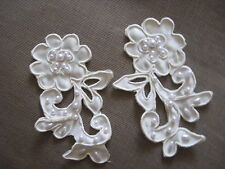 10 PAIR IVORY BRIDAL BEADED CORDED EMBROIDERY SATIN LACE APPLIQUE.