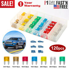 120pc Mini Blade Fuse Set Assortment Auto Car Motorcycle Suv Fuses Kit Apm Atm