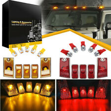 10Pc Amber/Red Lens Cab Marker Roof Running Top Lights w/LED For 03-09 Hummer H2