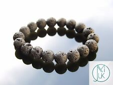 Lava Rock 10mm Natural Gemstone Bracelet 7-8'' Elasticated Healing Stone Chakra