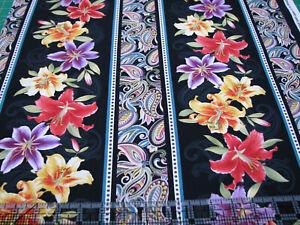 3 Yards Quilt Cotton Fabric - Benartex Ann Lance Lilyanne Lily Stripe