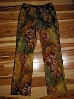Andre' Oliver Women's Brown & Green Animal Print Mid Rise Pants Size 2