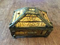 Moroccan Berber Old Vintage  Ornate Jewelry Box Bone Copper And Stones.