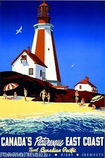 1950 East Coast Vintage Canada Canadian Pacific Travel Advertisement Art Poster