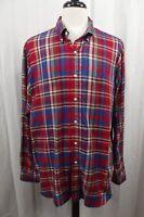 Ralph Lauren Polo Mens Shirt XL X-Large Button Down Red Blue Plaid Long Sleeve