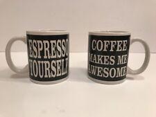 """2 Piece Ceramic Mug Gift Set """"Espresso Yourself"""" & """"Coffee Makes Me Awesome"""""""