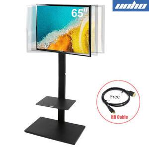"Adjustable Floor TV Stand Swivel Head w/ 2 Shelf for 32-65"" Sony Samsung LG Tvs"