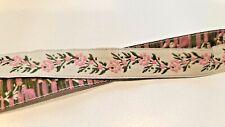 "1/2"" Pink Green Brocade Jacquard Floral Ribbon Vintage Doll Costume 5 yards"