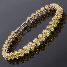 Xmas Tennis Dainty Round Cut Rhinestone Prom 18K Yellow Ciritine Bracelet Chain