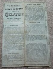 RARE PETER COOPER'S CLARIFIED GELATINE RECIPES PAMPHLET PRE JELLO CIRCA 1890'S