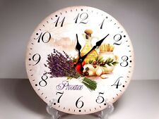 "Large 33.5 cm Country Style Hanging Wall Clock "" Provence"" Flower  Design #1"
