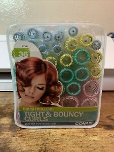 Conair Brush Hair Rollers Curlers Tight & Bouncy Curls - Set of 36