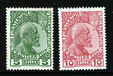 LIECHTENSTEIN 1912 First Austrian Issue Surfaced Paper SG 1 & SG 2 MINT