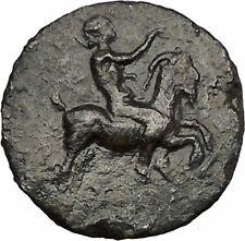 HIMERA in SICILY 420BC Pan Goat Helmet Nike Authentic Ancient Greek Coin i51585