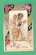 Vintage Center Silk Valentine'S Day Postcard Girl Flowers Cupid Hearts
