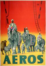 Original Vintage Poster Zirkus Aeros Elephant Parade c1965 German Circus