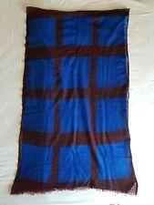 Suzusan Shibori cashmere scarf in royal blue squares and aubergine