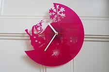 Orologio da parete design congelato, realizzata in plexiglass rosa [* l-1]