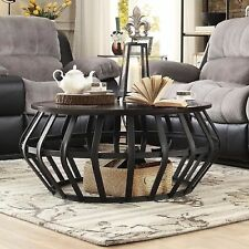 Industrial Coffee Table Best For Men Commercial Tables Living Room Round Drum