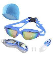 Swimming Goggles, Nose Plug, Swim Cap & EarPlugs |Anti Fog & UV Protection|