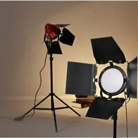 65W 5500K Continuous LED Red Head Video Lighting with Light Stand & Barn Doors