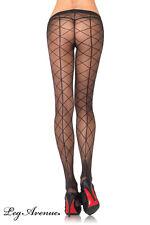 Sexy Feinstrumpfhose mit aufgedrucktem Netz und Rücknaht von Leg Avenue