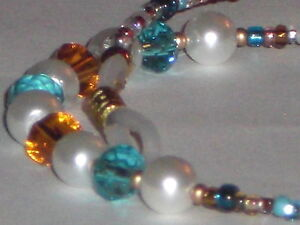 "Pearl Eyeglass Chain~Amber & Aqua Crystals~Lovely Gift~28""Buy 3 SHIP FREE"