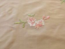 LEE JOFA FLEURIR SILK SAND PALE GOLD WITH PINK FLOWER EMBROIDERY BTY