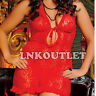 Red Sheer Spandex Halter Chemise Lingerie with Thong & Garters Plus  2X