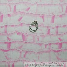 BonEful Fabric Cotton Quilt VTG Pink Baby Girl Nursery White Old Lace SALE SCRAP