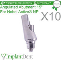 10 Titanium Angular Abutment 15° For Nobel Biocare, Active Hex NP Dental Implant
