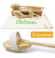 3 Dry Brushes/Set 100% Natural Boar Bristles Body Brush & Face Brush-Extra Long
