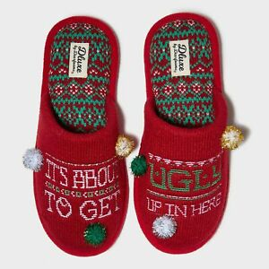 Dluxe Dearfoams Slide Memory Foam Slipper Ugly In Here Christmas W:13-14 M:11-12