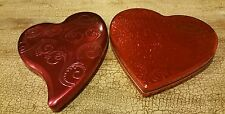 Two Heart Shaped Tin Boxes Empty Scroll Embossed Valentine Containers