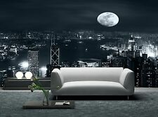 Full Moon Night in City  Wall Mural Photo Wallpaper GIANT DECOR Paper Poster