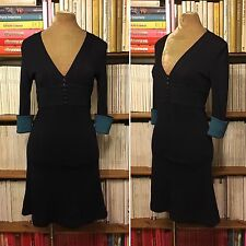 JENNY DYER navy wool jersey fitted A-line dress UK 8 US 4 office formal