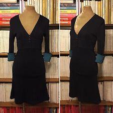JENNY DYER Azul Marino Lana Ajustada A-Line vestido formal de oficina de 4 UK 8 nos