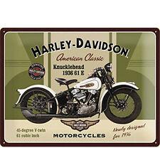 HARLEY DAVIDSON cartolina metal card in latta moto color verdone 10x14cm ufficia
